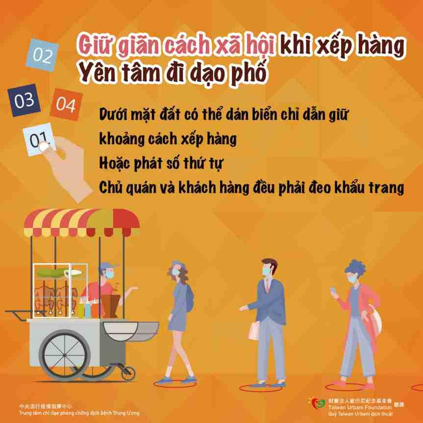 排隊保持社交距離(越南語)